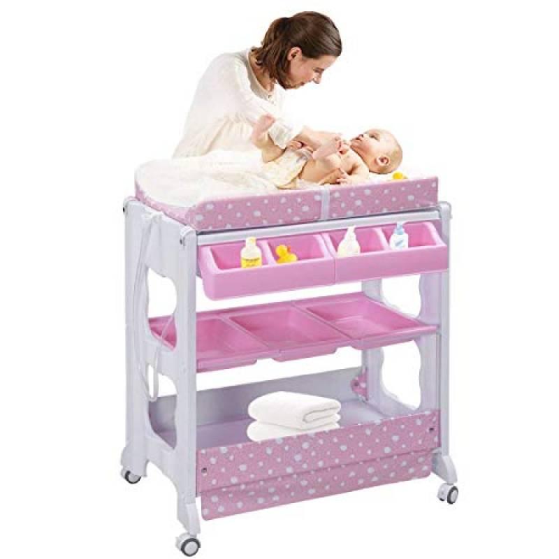 COSTWAY Fasciatoio con Vaschetta per il Bagno Fasciatoio Bagnetto per Neonati, Due Colori Disponibili (Rosa)